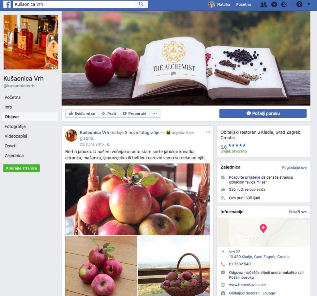 Facebook Page za kušaonicu